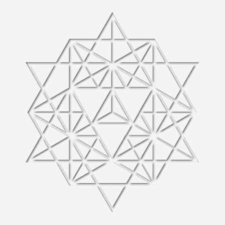 sacral: Sacral geometry design with polygon. Paper-made magic symbol, mystical crystal. Spiritual papery graphic