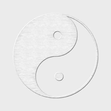 alchemist: Symbol of yin and yang, the emblem of Taoism made of paper. White design for meditation, spiritual geometry