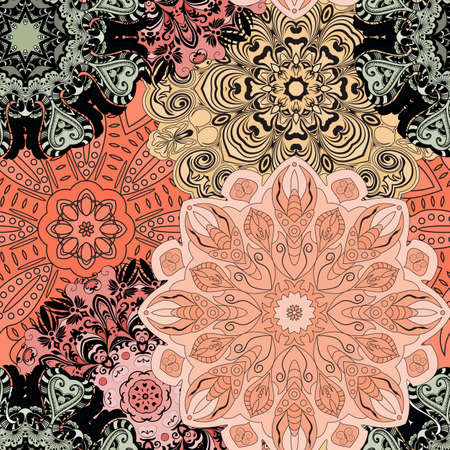 wrapper: Vector seamless pattern with flowery mandalas print made in oriental style. Wrapper, textile, background or front-side. Illustration