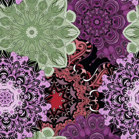 wrapper: Vector seamless pattern with flowery mandalas print made in oriental style. Wrapper, textile, background or front-side
