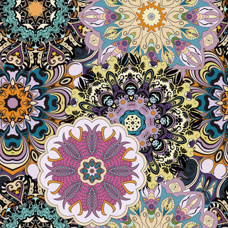 Vector seamless pattern with flowery mandalas print made in oriental style. Flowery designed background.