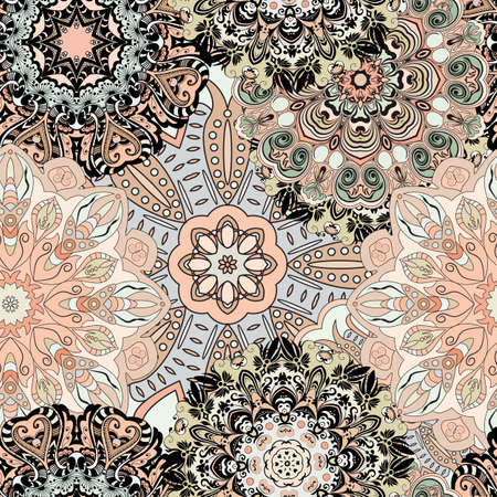 flowery: Vector seamless pattern with flowery mandalas print made in oriental style. Vintage designed background.