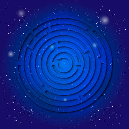 kabbalah: Spiritual sacred symbol of labyrinth on the deep blue cosmic sky. Sacral geometry in universe. Space with mystic design.