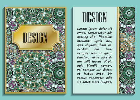 backside: Bright elegant design for wedding invitations, birthday and greeting cards. Vector art with oriental motif. Shiny card with place for text Illustration