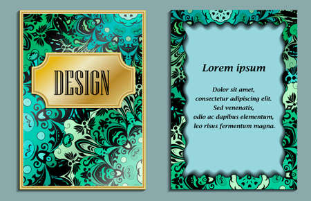 backside: Bright elegant design for wedding invitations, birthday and greeting cards. Vector art with oriental motif. Card with place for text.