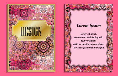 backside: Bright elegant design for wedding invitations, birthday and greeting cards. Vector art with purple oriental motif. Shiny card with place for text