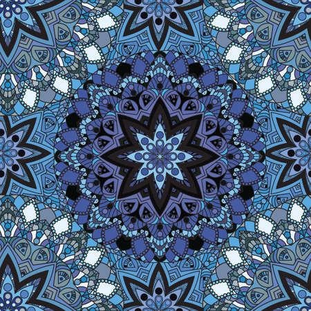 mandalas: Blue seamless design in oriental style. Stellar mandalas background for card, front-side, cover or wrapping paper. Indian, arabic, chinese, turkish lace print