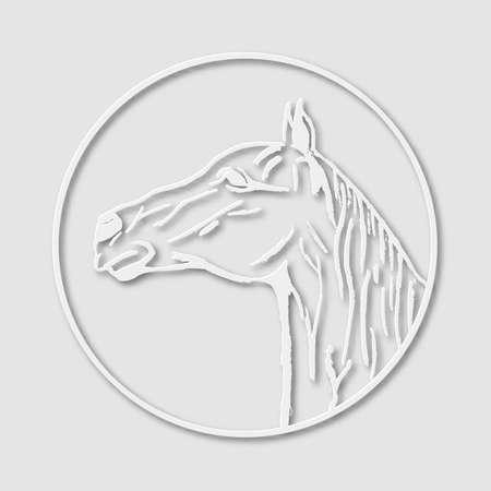 papery: Papery logo emblem template mascot symbol of horse head for business or shirt design. Vector vintage design element Illustration
