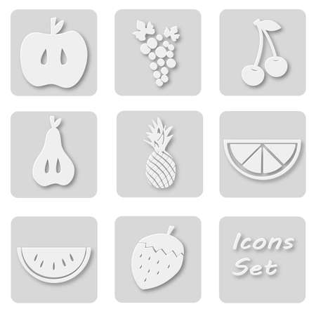 papery: Paper set of fruits icons. Papery stickers with apple, grape, cherry, pear, ananas, orange, watermelon, strawberry Signs for web design
