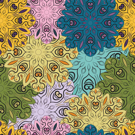 flowery: Colorful vector seamless pattern with flowery mandalas print made in oriental style. Design for wrapper, decoration, carpet or textile