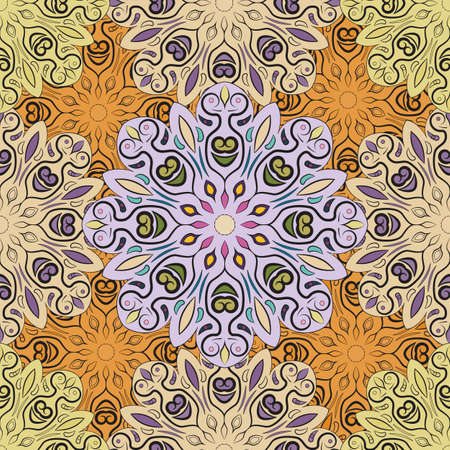 flowery: Pastel vector seamless pattern with flowery mandalas print made in oriental style. Design for wrapper, decoration, carpet or textile Illustration