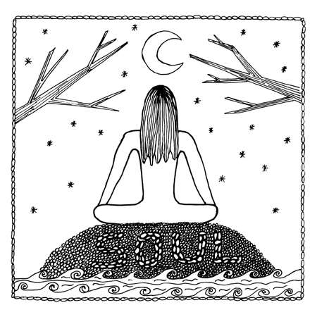 indium: Woman in Yoga lotus position for meditation. For the logo yoga studio, postcards, and adult coloring book.