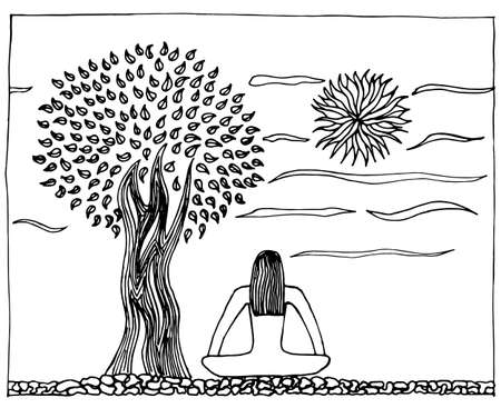 indium: Hand-drawn illustration of yoga, life, harmony. Tree and sun in peaceful meditation