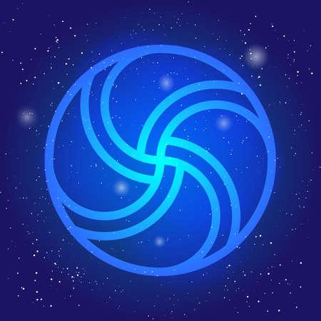 sacral: Magic wheel 3d. Sacral geometry symbol in space. Scandinavian cosmic style illustration. Enigmatic celtic design