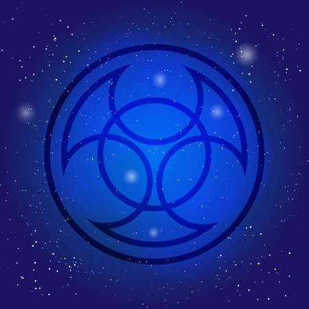 Symbol of alchemy and sacred geometry on cosmic sky background. Nuclear sign. Occult pictogram in space