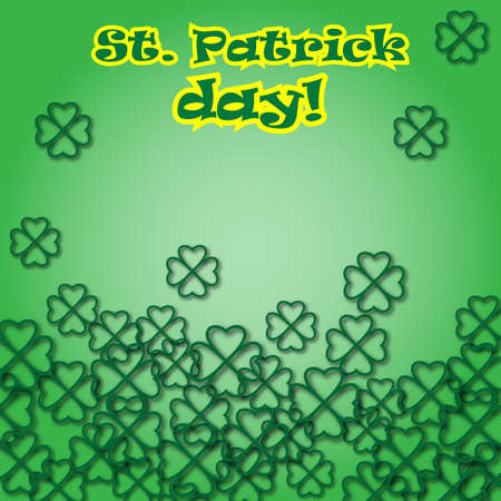 Card for St. Patricks day with the 3d clover leaves. Design for banner, invitation, postcard, pack. Vector illustration with text. Illustration