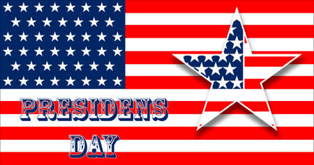 Card with Flag for Presidents Day greatings. Vector illustration for patriotic festival