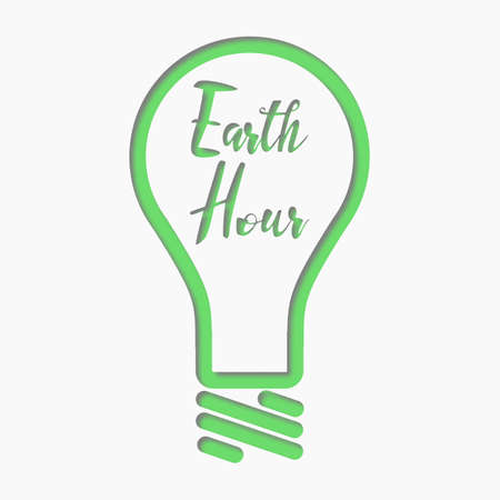 lamp outline: Vector design of Earth Hour for Design or Website, Background, Banner. Eco Energy Save Concept Element with Lamp in green outline style.