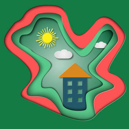 matrimonial: Tree-dimensional card with house. Symbol of family. Paper illustration. Colorful plastic design. Sun, clouds and home.