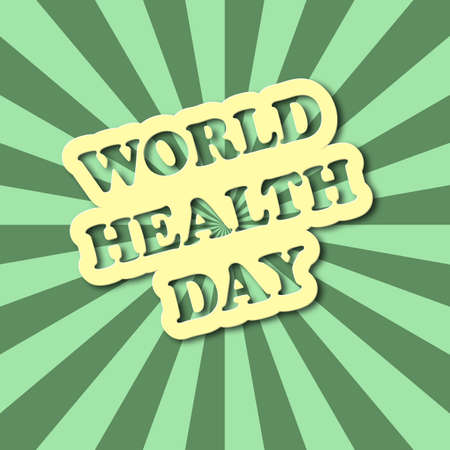 every day: World health day text in comics style with green rays on background. Retro style card