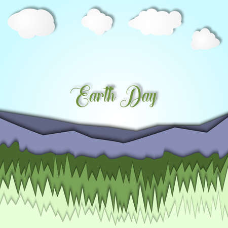 Earth day 3d illustration with landscape of mountains,with grass and clear sky. Symbolism of ecology, eco system, planet, life and nature.