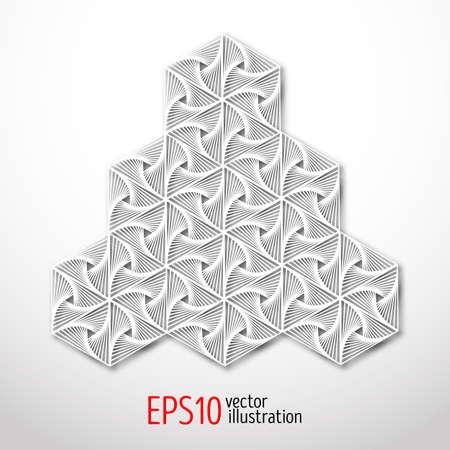 Design 3d esagonale realizzato in stile cartaceo. Geometria sacrale Forma misteriosa enigmatica. Disegno astratto di arte vettoriale di labirinto. Vettoriali