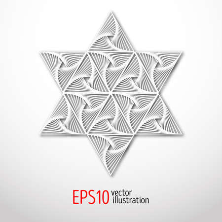 celtic background: Magic white star with pattern inside 3d . Sacral geometry figure. Scandinavian, celtic or eastern style illustration. Enigmatic and hypnotic, karma design.
