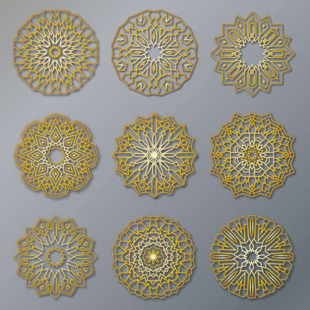 Vector set of golden oriental lacy round patterns. Circle illustrations for design template. Elements in Eastern style and Mandala decor.