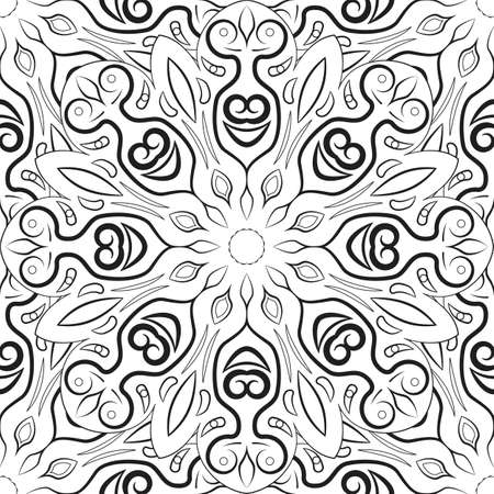 blackandwhite: Black and white mandala pattern. Monochrome background with ornament. Hand-drawn vector illustration. Anti stress coloring page for adults