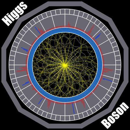 ボソン ヒッグス、量子力学、ハドロン衝突型加速器。宇宙の旅。ビッグバンの図。ベクトル抽象的な宇宙背景。