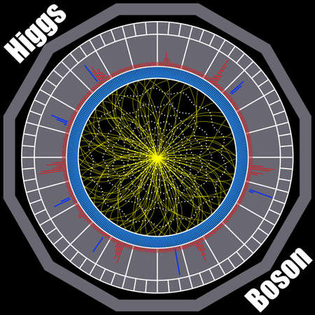 Boson Higgs, quantum mechanics, Hadron Collider. Voyage in the Space. Big Bang illustration. Vector abstract cosmic background.