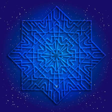sacral: Sacral geometry 3d design. Mandala, arabesque in cosmos. Magic kabbalah figure. Esoteric illustration.