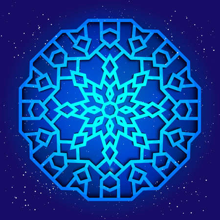 sacral: Sacral geometry 3d design. Mandala, arabesque in cosmos. Magic kabbalah figure
