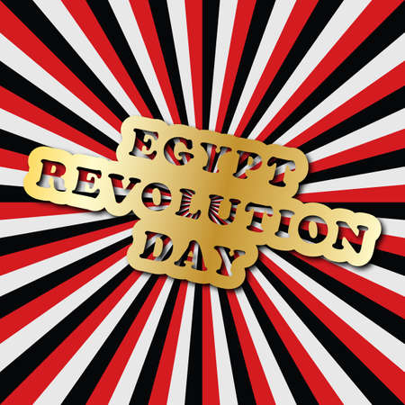 Vector illustration for Egypt Revolution Day, retro style greeting card with rays. Design for poster, banner, flayer, greeting, invitation. Independence day card with flags colors.