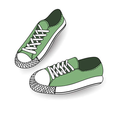 simplification: Vector illustration of hand drawn, drawing, sport shoes for tennis, trainers, sneakers. Casual style. Doodle design, element for logo.
