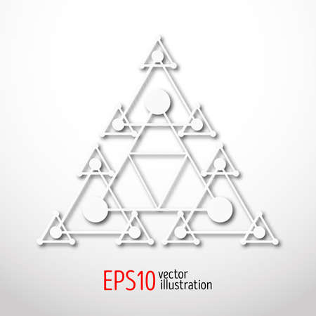 Magic white triangle with recursive 3d . Sacral geometry symbol. Scandinavian, celtic or eastern style illustration. Enigmatic and hypnotic, karma figure.