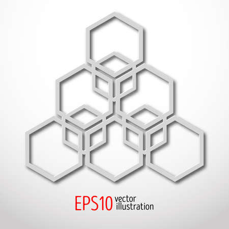 Hexagonal 3d design made in white plastic style. Sacral geometry. Mystery enigmatic shape. Abstract vector art design of labyrinth in honeycombs shape.