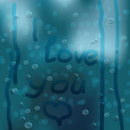 Heart hand drawn on window covered with rain drops and couple covered with umbrella as background Vectores