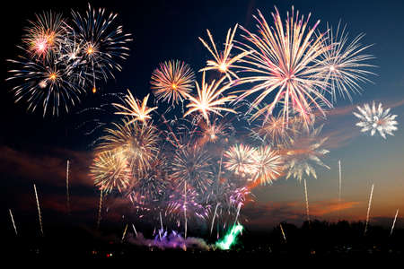 Colorful fireworks of various colors over sky