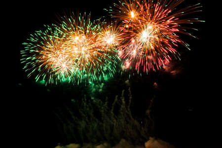 Colorful fireworks of various colors over night sky