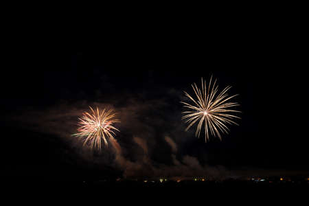 Colorful fireworks of vaus colors over night sky Stock Photo - 22496958