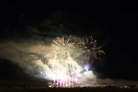Colorful fireworks of vaus colors over night sky Stock Photo - 22496962