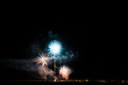 Colorful fireworks of various colors over night sky Stock Photo - 22497137