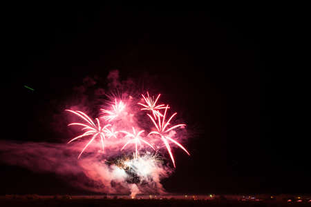 Colorful fireworks of vaus colors over night sky Stock Photo - 22497151