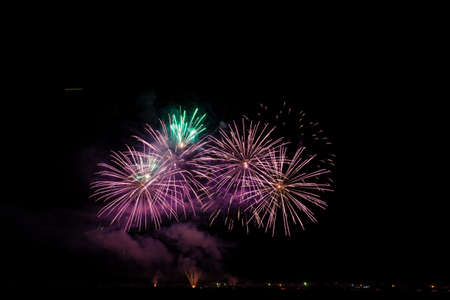 Colorful fireworks of vaus colors over night sky Stock Photo - 22497159