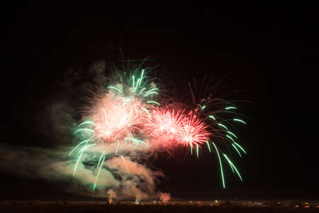 Colorful fireworks of vaus colors over night sky Stock Photo - 22497163