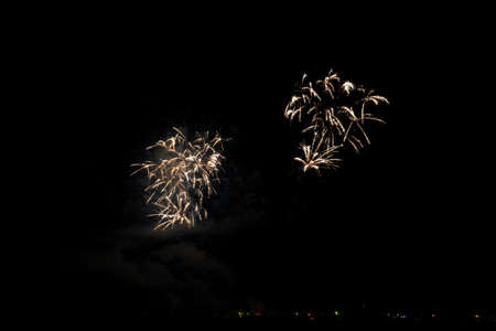 Colorful fireworks of various colors over night sky Stock Photo - 22497167