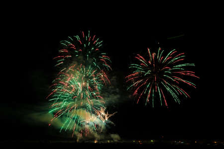 Colorful fireworks of vaus colors over night sky Stock Photo - 22497168