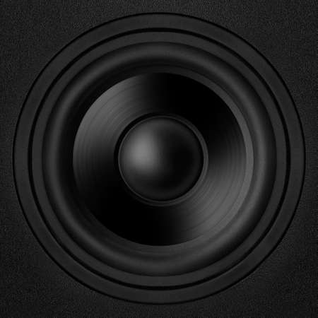 Black speaker with a metal membrane Stock Photo - 22497278