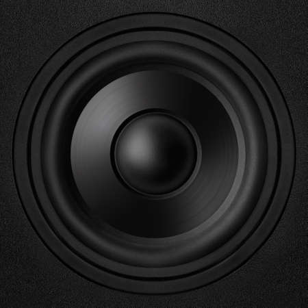 Black speaker with a metal membrane Stock Photo